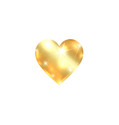 gold heart icon isolated golden heart on a white vector image