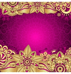Gold-purple vintage frame vector