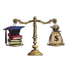 graduation cap books and sack of dollars on vector image