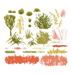 Graphic collection abstract stainy plants on vector