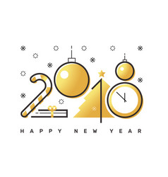 Happy 2018 new year flat thin line horizontal vector