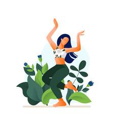 Happy dancing girl or woman dancing vector
