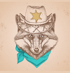 hipster animal fox hand drawing muzzle of animal vector image