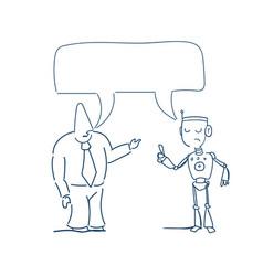 Human robot talking chat box bubble communication vector