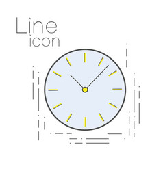 Icon time in linear simple style clock sign vector