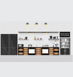 Interior kitchen with kitchen shelves and cooking vector