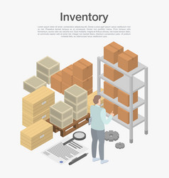 Inventory concept background isometric style vector