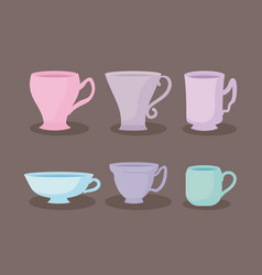 Kitchen teacups pastel set icons vector