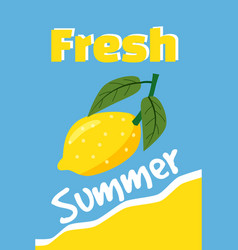 lemon fresh summer holiday vacation poster set vector image