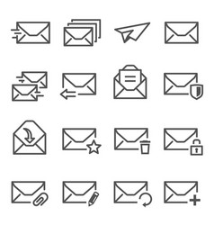 letters open closed envelopes line icons set vector image