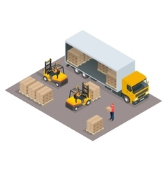 Logistics concept Loading cargo in the truck vector image