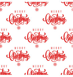 merry christmas lettering seamless pattern vector image