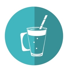Mocca coffee cup cream straw drink - round icon vector
