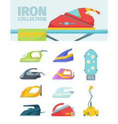modern irons electric set ironing devices colored vector image
