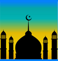 Mosque dome and minaret silhouette with moon durin vector