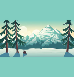 national park winter landscape cartoon vector image