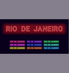 Neon name of rio de janeiro city vector