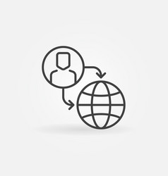 Outsourcing outline icon or sign vector
