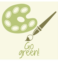 Paint brush with palette Go green vector
