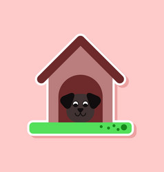 Paper sticker on stylish background dog in booth vector