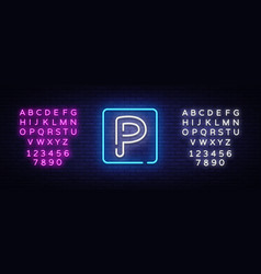 parking neon sign parking zone design vector image