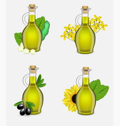 plant oil glass bottle set realistic vector image