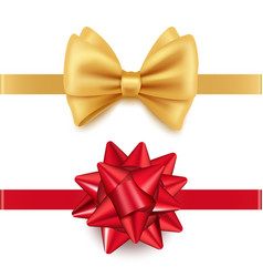 realistic red and golden gift bows isolated vector image