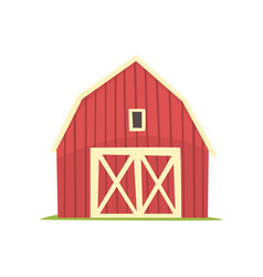 Red barn wooden agricultural building with closed vector