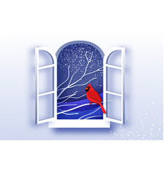 red cardinal in paper cut style tree under the vector image