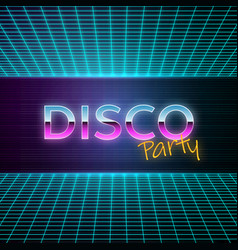 retro futuristic background 80s style disco party vector image