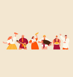 Russian holiday people in national costumes vector