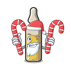 Santa with candy ampoule mascot cartoon style vector
