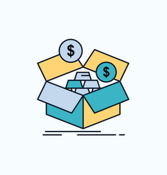 Savings box budget money growth flat icon green vector