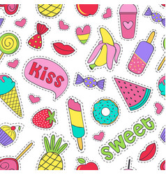 Seamless pattern with sweet stickers vector