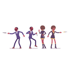 Secret agent black man and woman spies with knife vector