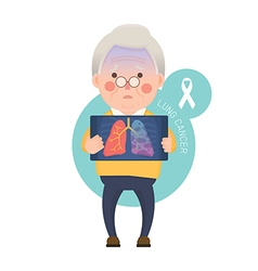 Senior Man have Lung Cancer vector