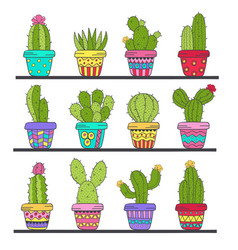 Set of isolated cactus in pots on shelf vector