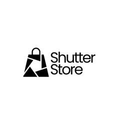 shutter shop store photo camera lens logo icon vector image