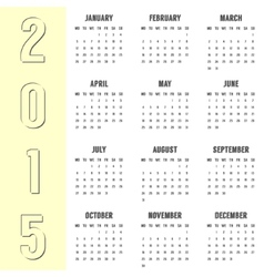 simple calendar of 2015 year with the yellow side vector image