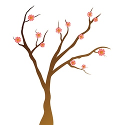 Simply Tree with pink flowers vector