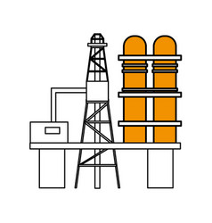 Sketch color silhouette industry refinery of vector