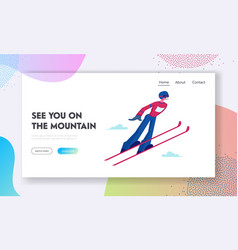 Skier making jump website landing page athlete vector