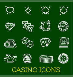 thin line icons casino poker gambling vector image