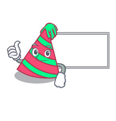 Thumbs up with board party hat character cartoon vector