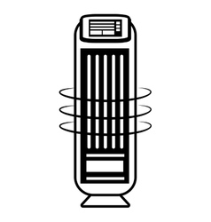 Tower fan room house appliance outline vector