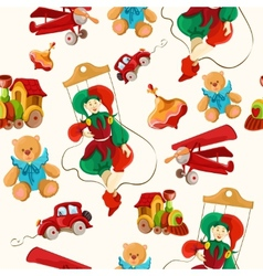 Toys colored drawn seamless pattern vector image