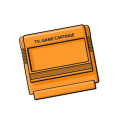 tv game cartridge in plastic orange case from 90s vector image