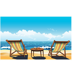 Two chaise lounges on the beach vector