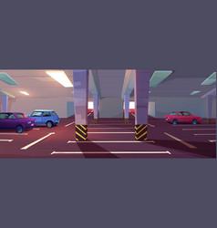 Underground car parking basement garage vector