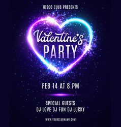 valentines day party neon poster design template vector image